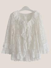 Sweet Lolita Coat Neverland Lace White Ruffle Lolita Cardigan