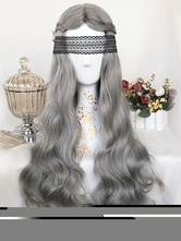 Sweet Lolita Wigs Harajuku Deep Gray Long Curly Center Parting Synthetic Hair Wigs
