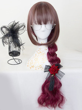 Ombre Lolita Wigs Harajuku Burgundy Long Curly Synthetic Hair Wigs