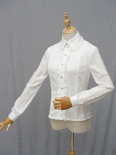 Classic Lolita Blouse The Song Of The Ivory Tower Chiffon Frill Turndown Collar Long Sleeve White Lolita Top