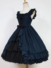 Gothic Lolita Dress Dark Fairy Tale JSK Neverland Ruffles Pleated Dark Navy Lolita Jumper Skirt