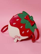 Sweet Lolita Handbag Strawberry Bows PU Color Block Embroidered Red Lolita Bags