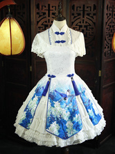 Qi Lolita OP One Piece Dress Stand Collar Lace Short Sleeve Floral Print Bows Fringe Ruffles Frills Blue Lolita Dresses