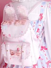 Sweet Lolita Backpack Bows Bunny Print PU Soft Pink Lolita Shoulders Bags