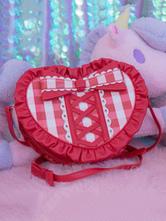 Sweet Lolita Handbag Bows PU Plaid Frills Red Lolita Shoulder Bags