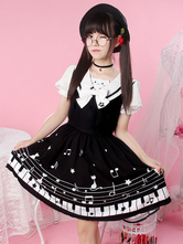 Sweet Lolita OP One Piece Dress Sailor Collar Short Sleeve Music Print Ruffles Black Lolita Dresses