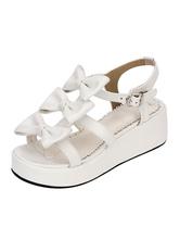 Sweet Lolita Shoes Open Toe Wedge Heel PU Bows Flat White Lolita Sandals
