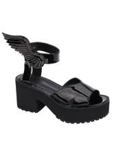 Gothic Lolita Shoes Peep Toe Chunky Heel PU Flat Black Lolita Sandals