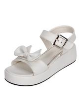 Sweet Lolita Shoes Open Toe Wedge Heel Bows PU Flat White Lolita Sandals