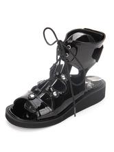 Gothic Lolita Shoes Open Toe Lace Up Wedge Heel PU Flat Black Lolita Sandals