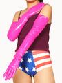 PVC Pink Shoulder Length Gloves Halloween 4292