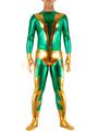 Halloween Green & Golden Shiny Metallic Zentai Suit Halloween 4292