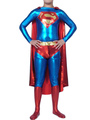 Halloween Super Man Catsuit Shiny Metallic Superhero Bodysuit 4292