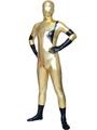 Halloween Gold And Black Shiny Metallic Unisex Zentai Suit 4292