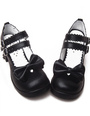 Black Chunky Heels Shoes Straps Bow Buckles Hollow Heart 4292