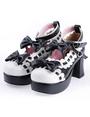 Black White Lolita Chunky Heels Shoes Platform White Trim Bows Ankle Strap 4292
