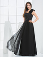 Black A-line One-shoulder Chiffon Floor-length Evening Dress 4292