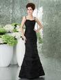 Slim Black Taffeta Floor Length Mermaid Trumpet Prom Dress 4292