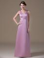 Attractive Pink Satin V-neck Maternity Bridesmaid Dress 4292
