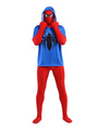Blue Red Spiderman Zentai Suit Black Spider Print Superhero Halloween Costume with Hood 4292