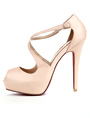 Nude Color Criss-Cross PU Peep Toe Women's Dress Sandals 4292