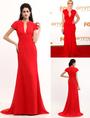 Red Kate Winslet Floor Length Chiffon Emmy Awards Dress 4292
