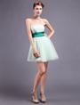 Chic Green Satin Sash Strapless Prom Dress 4292