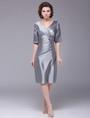 Mother of the Bride Dress Sheath Silk Satin Dress for Women Wedding Guest Dress 4292