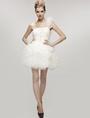 Sexy White Gauze One Shoulder Mini Wedding Dress 4292