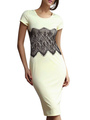Slim White Lace Polyester Bodycon Dress for Women 4292