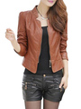 Women Leather Jacket Motorcycle Jacket Brown Leather Coat 4292