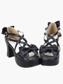 Black Lolita Heels Platform Crossing Straps Bow PU Lolita Shoes 4292