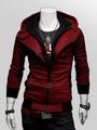 Burgundy Hoodie Men Jacket Hooded Long Sleeve Full Zip Sweatshirt 4292