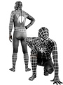 Halloween Spiderman Zenta Suit Lycra Spandex Black Costume Outfit with White Stripes 4292