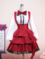Cotton White Long Sleeves Blouse And Black Ruffles Lolita Skirt Outfit 4292