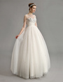 Embellished Ball Gown Wedding Dress with Illusion Neck and Sleeve Milanoo 4292