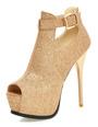 Women's Stiletto Heels Toggle Peep Toe Platform Sandal Boots 4292