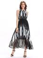 Chiffon Halter Maxi Dress Black Summer Long Dress 4292