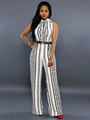 Stand Collar Sleeveless Printed Two-tone Jumpsuit 4292