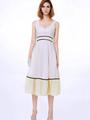 White Summer Dress Sleeveless Color Block Skater Dress 4292