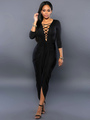 Sexy Plunge Bodycon Long Dress Lace Up Cut Out Party Dress In Black/Blue 4292