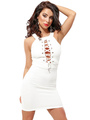Black/White Bodycon Dress Halter Lace Up Cut Out Sexy Mini Dress 4292