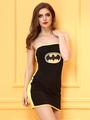 Black Bodycon Dress Strapless Batman Costume Lace-up Two-tone Mini Dress For Women 4292