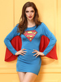 Blue Superman Halloween Costume Cosplay Women's Long Sleeve Color Block Dress 4292