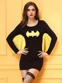 Black Spiderman Halloween Costume Women's Two-Tone Mini Dress 4292