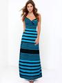 Women's Slip Dress Striped Open Back Long Dress 4292