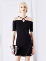 Black Bodycon Dress Women's Off-the-shoulder Strap Cross Front Sheath Dress 4292