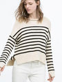 Striped Knit Sweaters Side Slit High Low Cotton Pullover Sweaters For Women 4292