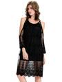 Black Lace Dress Open Shoulder Semi-sheer Women's Slip Dress 4292