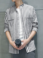Men's Black Shirt Long Sleeve Stand Collar Stripes Shirts 4292